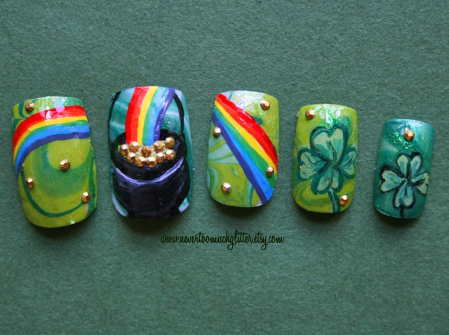 Pot O Gold St Patrick's Day Nail Art